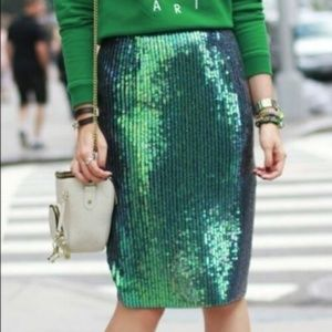 H&M Mermaid Fish Scale Mermaid Sequin Skirt Green